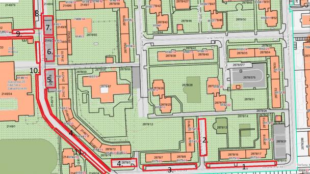 Čistenie parkovacích miest, úsek 5 a 18