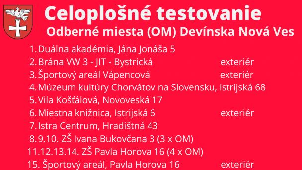 Príprava na celoplošné testovanie v MČ BA-DNV v dňoch 31. 10. - 1. 11. 2020