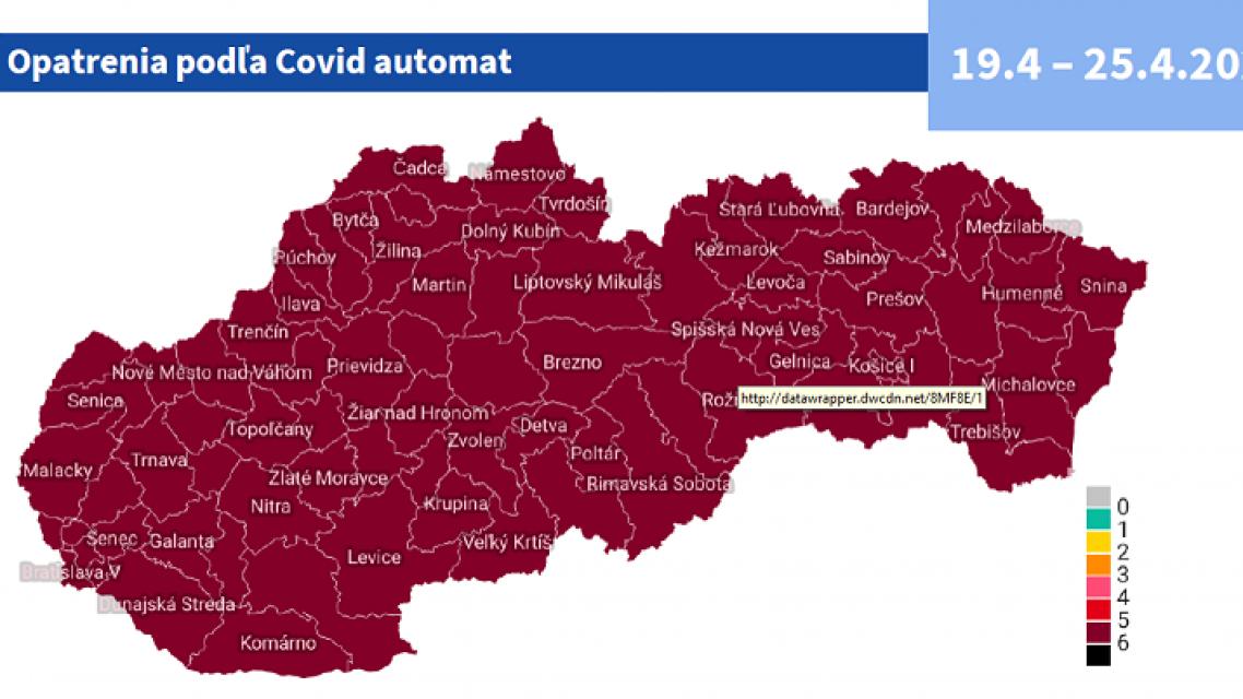 Od 19. apríla bude Slovensko v bordovej farbe